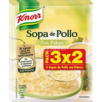 KNORR sopa de pollo con fideos pack 3 envases (183 g)