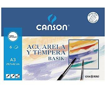 Canson Bloc para pintar con acuarelas o témperas de tamaño DIN-A3, apaisado, con 6 hojas de canson 370 g