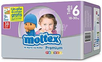 Moltex Pañales Premium para niños de 18 a 30 Kilogramos, Talla 6 38 Unidades
