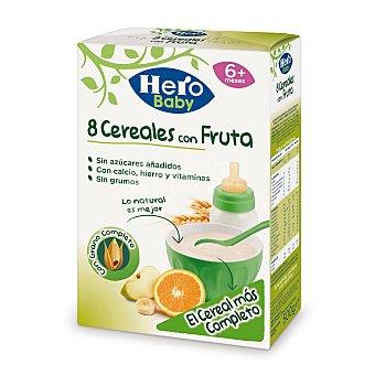 HERO BABY Papilla de 8 cereales con fruta desde 6 meses paquete 500 g
