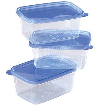 TAPA Set de 3 herméticos transparentes serie Fresco con azul 550 ml