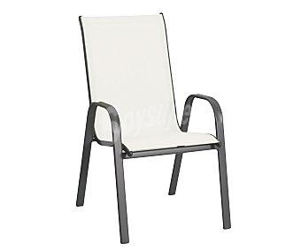 GARDEN STAR Silla fija y apilable para jardín. Fabricada en acero con asiento de textileno de color crudo y medidas: 71x55x96 centímetros 1 unidad