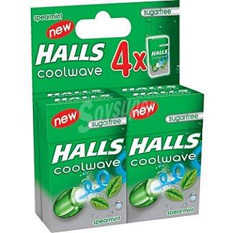 Halls Hierbabuena caramelos sin azúcar Coolwave Pack 4 envase 28 g