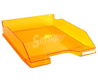 Exacompta Bandeja de poliestireno traslúcido naranja, para almacenar y ordenar papeles y correo, 65X225X346 mm, EXACOMPTA.