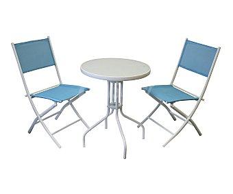 My garden Set de mobiliario de balcón con estructura de acero pulverizado de color blanco y asientos y respaldos de textileno de color azul, compuesto por 2 sillas plegables (61x44x86cm) y 1 mesa redonda de 60 centímetros con encimera de cristal templado de 5 milímetros 1 unidad