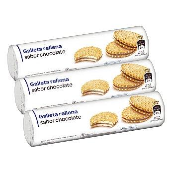 Galletas rellenas de crema sabor chocolate Pack de 3 unidades de 250 g