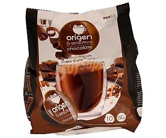 Origen & Sensations Chocolate en polvo y leche en polvo con azúcar en monodosis 10 unidades
