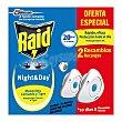 Insecticida eléctrico Night & Day mosquitos comunes y tigre 2 recambio. Raid