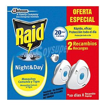 Raid Insecticida eléctrico Night & Day mosquitos comunes y tigre 2 recambio.