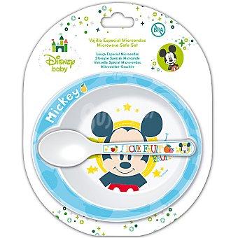 DISNEY Mickey set de cuenco y cuchara en color azul