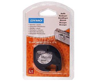 Dymo Cinta para rotulación y etiquetado, de plástico de color plata y con medidas de 4 metros x 12 milímetros DYMO