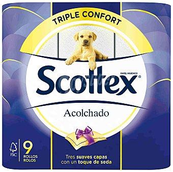 Scottex Papel higiénico acolchado 3 capas Paquete 9 uds