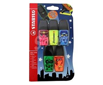 Stabilo boss Mini Marcadores Fluorescentes Verde, Rosa, Amiarillo, Azul y Naranja, con Impresión de 5 Divertidos Héroes 5 Unidades