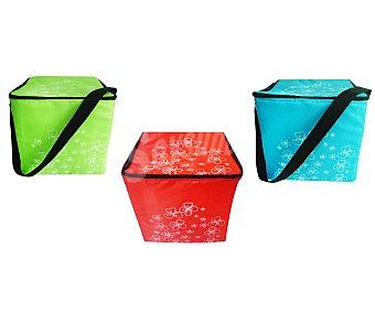 Productos Económicos Alcampo Bolsa nevera con capacidad de 30 litros, bandolera, cierre de cremallera y diseño de divertidos colores con flores blancas de fondo 1 unidad