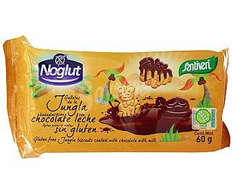 SANTIVERI NOGLUT Jungla Galletas con chocolate con leche sin gluten Envase 60 g