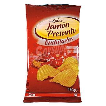 DIA Patatas fritas onduladas jamon bolsa 150GR Bolsa 150GR