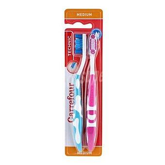 Carrefour Cepillo de dientes technic medio 2 ud