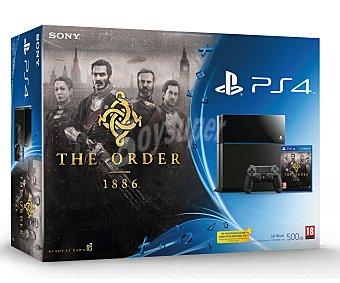 Sony Videoconsola Play Station 4 con 500 Gb de disco curo, mando inalámbrico Dualshok 4 color negro, más videojuego The Order: 1886 1 unidad