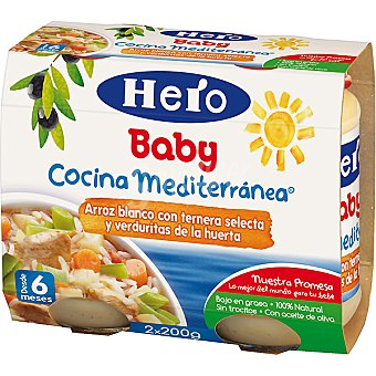 Hero Baby Tarritos de arroz blanco con ternera y verduritas +6 meses Nanos estuche 400 g pack 2x200g