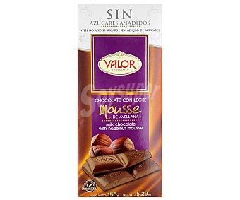 Valor Chocolate con leche mousse relleno de avellanas sin azúcar Tableta de 150 g