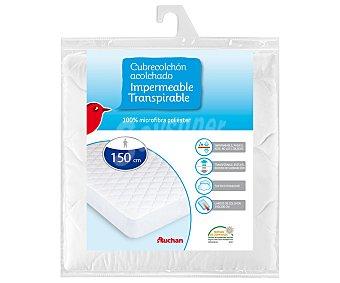 AUCHAN Cubre colchón de microfibra impermeable y transpirable, 150 centímetros 1 Unidad