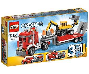 LEGO Juego de Construcciones Creator, Camión de Remolque + Escavadora 3 en 1, Modelo 31005 1 Unidad