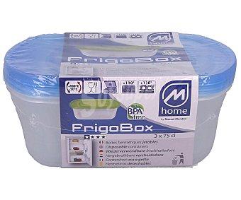 M-home Pack de 3 recipientes ovalados de plástico herméticos, 0,75 litros, HOME.
