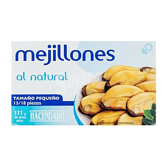 Hacendado Mejillon natural 13/18 piezas pequeños Lata 111 g escurrido 69 g