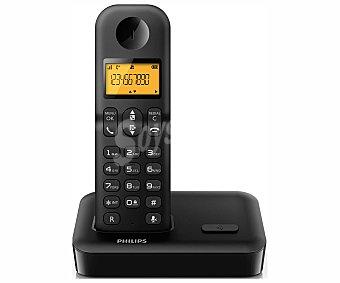 PHILIPS D1501B/23 Teléfono inalámbrico Negro, identificación de llamada, agenda: 50 nombres y números, pantalla iluminada,