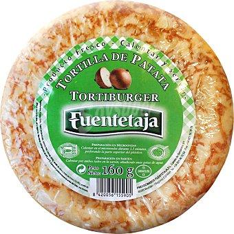 Fuentetaja Tortiburguer tortilla de patata con cebolla con tamaño especial para hamburguesa Envase 160 g