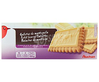 Auchan Galletas de mantequilla con tableta de chocolate blanco 150 gramos