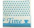 """Paño de cocina con estampado """"Tea Time"""" y lunares de color azul, 420g., 100% algodón, AUCHAN. 420g. Auchan"""