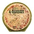Pizza fresca 4 quesos familiar (emmental,mozzarella,grana,cheddar) u 580 g Hacendado
