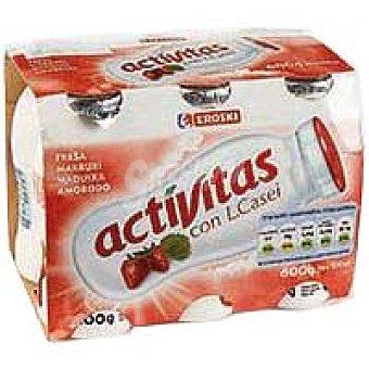 Eroski Activitas de fresa Pack 6x100 ml