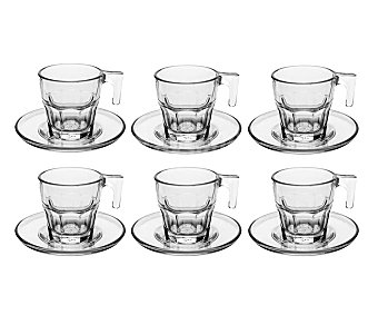 Pasabache Pack de tazas de cafe y patos transparentes, 7,5 centilitros de capacidad, modelo Casablanca Pack de 6 unidades