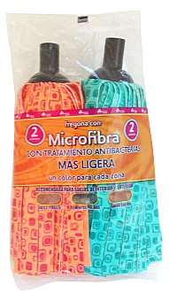 Bosque Verde Fregona tiras microfibra antibacterias azul / fucsia (suelos de interior y exterior) Pack 2 u