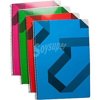Hipercor cuaderno con espiral con tapa de cartoncillo tamaño cuerto en colores surtidos 77415 1 unidad