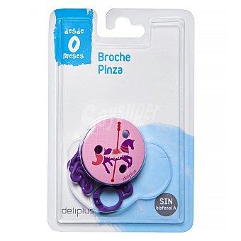 Deliplus Broche pinza chupete rosa 1 unidad