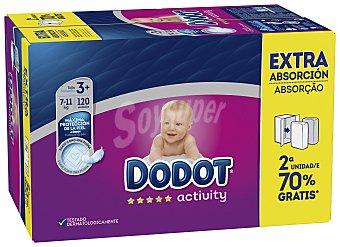 Dodot Activity Pañales de 6 a 11 kg talla 3+ Extra pack 2x60 unidades caja 120 unidades Pack 2x60 unidades