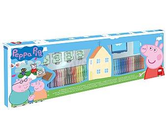 PEPPA PIG Super estuche compuesto por 60 rotuladores lavables, 30 cromos autoadhesivos, 20 páginas para colorear, 4 sellos y 1 tampón de tinta, todo ellos con la temática de tus personajes favoritos de la serie peppa PIG