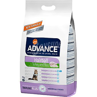 Advance Affinity Alimento de alta gama para gatos adultos para prevenir bolas de pelo rico en pavo y arroz Hairball Bolsa 3 kg