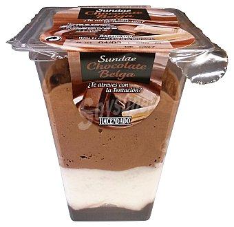 Hacendado Postre lácteo mousse chocolates belgas sundae con bizcocho y salsa de chocolate Unidad de 110 g