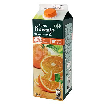 Carrefour Zumo de naranja Carrefour con pulpa Brik 1 l