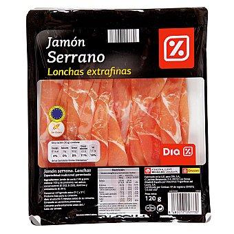 DIA Jamón serrano lonchas extra finas sobre 120 gr Sobre 120 gr