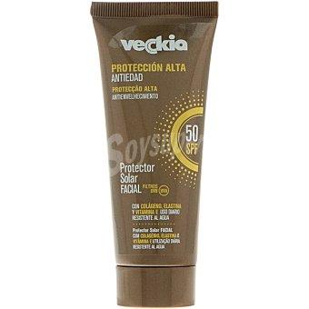 Veckia Protección solar facial anti-edad FP-50 con colágeno elastina y vitamina E Tubo 75 ml