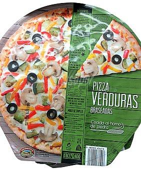 Hacendado Pizza congelada verduras braseadas (pimiento, cebolla y aceituna negra) calabacín 390 g