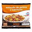 Salteado patata y salchicha (con guisantes, zanahoria, tortilla, cebolla y bacon) congelado Paquete 450 g Hacendado