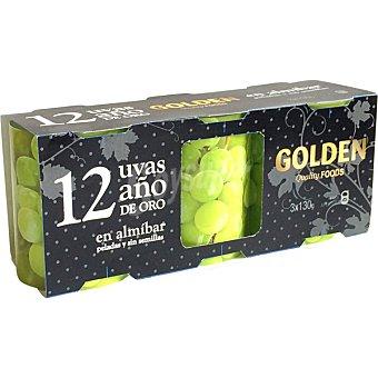 Golden Quality Foods 12 uvas Año de Oro en almíbar peladas y sin semillas pack 3 latas 130 g neto escurrido Pack 3 latas 130 g