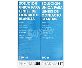 Pharmaset Solución para limpiar, desinfectar y lubricar lentes de contacto blandas,, 2 x 360 Mililitros