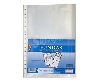 Auchan Fundas transparentes de tamaño folio, lomo reforzado y 11 taladros 200 unidades